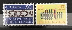 Liechtenstein 1965 #400 & 405, MNH, CV $1.05