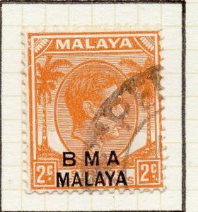 Malaya Straights Settlements 1945 Early Shade of Used 2c. BMA Optd 307976