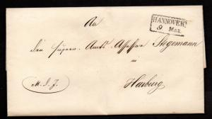 $German Stampless Cover, Hannover-Harburg (1842) date
