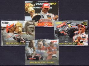 Chad 2008 LEWIS HAMILTON/Senna/Fangio/Schumacher/Formula 1 Cars Set (4) MNH