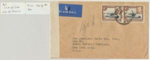 KUT TO USA 1940 CENSOR COVER, TAPE Ty1Va, 2sh RATE (SEE BELOW)