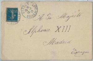75196 - FRANCE - Postal History - COVER sent to the KING of SPAIN 1917 - ROYALTY