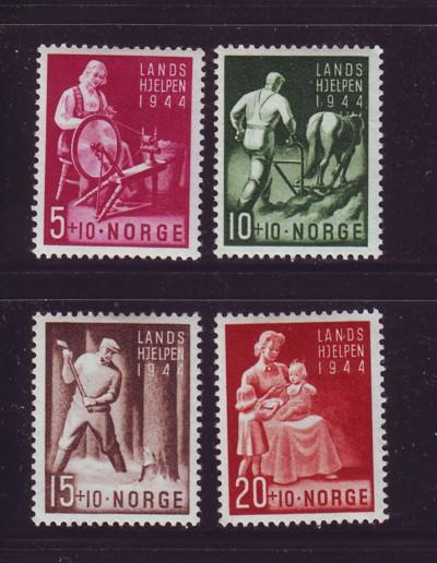 Norway Sc B38-41 1944 National Welfare stamp set mint