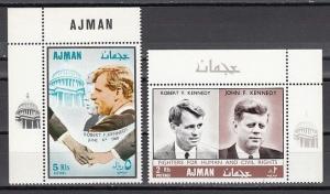 Ajman, Mi cat. 299-300 A. Kennedy Brothers, Human Rights issue..