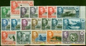 Falkland Islands 1938-49 Set of 19 SG146-163 V.F MNH