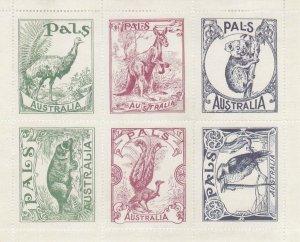 CN1) Australia Pals Labels Minisheet. Reprinted set of 6 labels