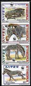 Ethiopia 2001 WWF - Grevy's Zebra perf set of 4 values u...