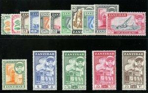 Zanzibar 1961 QEII set complete superb MNH. SG 373-388. Sc 264-279.
