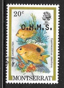 Montserrat O48: 20c Yellow Damselfish, used, VF