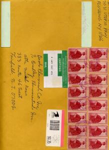 Certified Mail Envelope 16 F1 stamps