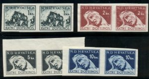 CROATIA #RA3-6, 1kn-10kn IMPERF PAIRS, unused no gum, VF