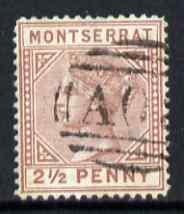 Montserrat 1880 QV 2.5d red-brown CC fine used with light...