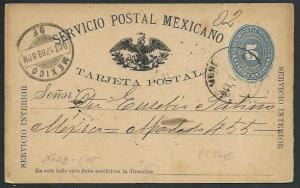 MEXICO 1889 5c postcard used...............................................66238