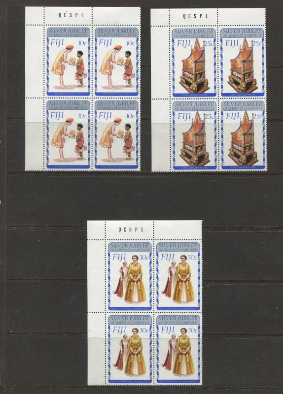 Fiji - Scott 371-373 - General Issue 1977- MNH - Set of 3 X Corner Blocks of 4