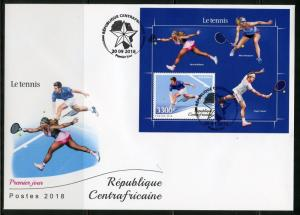 CENTRAL AFRICA 2018  TENNIS WILLIAMS FEDERER DJOKOVIC  SOUVENIR  SHEET FDC