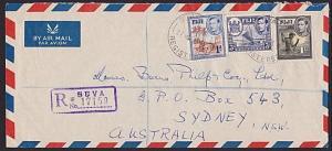 FIJI 1953 Registered cover Suva to Sydney - GVI franking....................3519