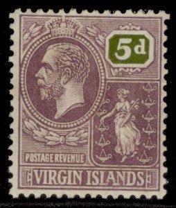 BRITISH VIRGIN ISLANDS GV SG97, 5d dull purple & olive, M MINT.