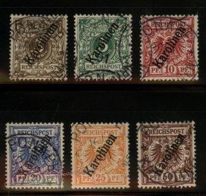 Germany Colonies 1900 Carolines Karolinen Mi 1II-6II Set Krone Adler USED 102238