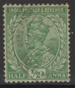 INDIA SG157 1911 ½a BRIGHT GREEN USED