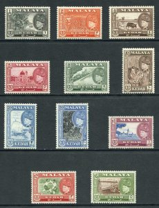Kedah SG92/102 1957 Set of 11 U/M