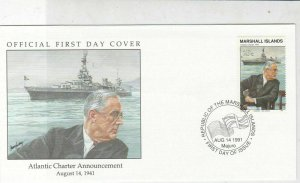 Marshall Islands 1991 Atlantic Charter Roosevelt Pic + Stamp FDC Cover Ref 32037