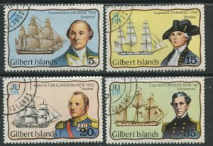 STAMP STATION PERTH Gilbert Is.#296-299 Explorers Issue VFU 1977 CV$13.00