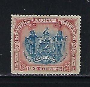 NORTH BORNEO SCOTT #90 1897 24 CENTS (CLARET/BLUE) MINT NO GUM