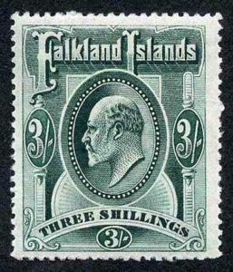 Falkland Island SG49b KEVII 3/- Deep Green M/Mint