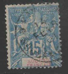 French Sudan Scott 9 Used on quadrile paper