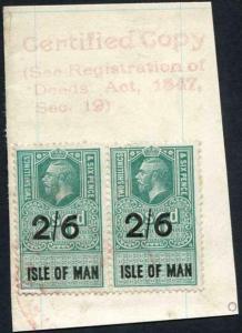 Isle of Man KGV 2/6 PAIR Key Plate Type Revenues CDS on Piece