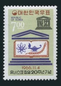 Korea South 546,546a,MNH.Michel 563,Bl.240. UNESCO,20th Ann.1966.