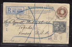 BRITISH HONDURAS (P1201BB) 1928 KGV 3C RLE+ 4C REG TO USA