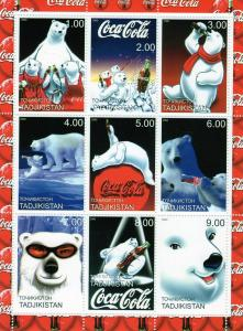Tajikistan 2000 Coca-Cola Polar Bears Sheetlet (9) Perforated MNH