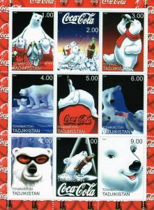 Tajikistan 2000 Coca-Cola Polar Bears Sheetlet (9) Perforated MNH