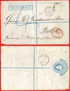 RP3 QV 2d Registered Envelope Size G Scalloped edge Used Stamp removed