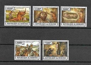 Burundi MNH Set Of 5 Prehistoric Humans 2013