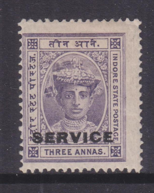 INDORE, INDIA, SERVICE, 1906 3a. Violet, lhm.