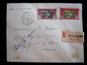 IVORY COAST - 1927 GENUINE POSTAL USE COVER W/SCOTT# 65,69- CAT VAL $95.00