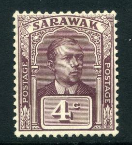 SARAWAK; 1922 early Vyner Broke issue 4c. fine Mint hinged value