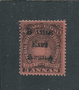 BRITISH EAST AFRICA 1895 3a BLACK/DULL RED MM SG 37 CAT £100