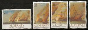 ALDERNEY SGA52/5 1992 300th ANNIVERSARY OF BATTLE OF LA HOGUE MNH
