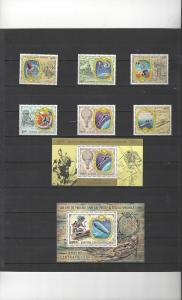 Central Africa 333-6, C191-3 + Extra Sheet UPU Posts and Communications