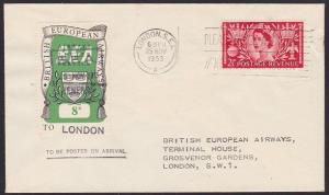 GB 1953 BEA 8d airmail stamp on flown cover Renfrew to London...............5626