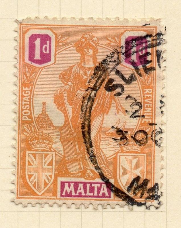 Malta 1922 Early Issue Fine Used 1d. 029130