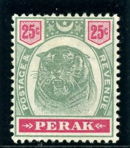 Malaya-Perak 1897 25c green & carmine MLH. SG 73. Sc 54.