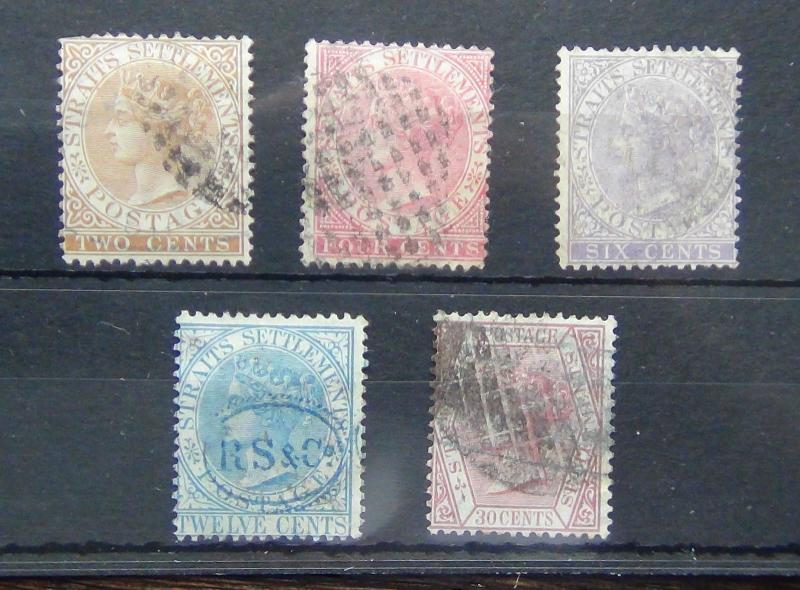 Straits Settlements QV Range with values to 30c Fine Used