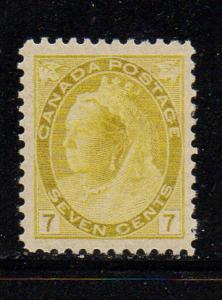Canada Sc 81 1902 7 c yellow Victoria numeral stamp mint