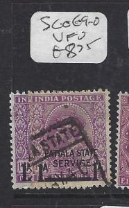 INDIA PATIALA  (P1012B) KGV  1A/ 1A 3P  SG O69-70   VFU