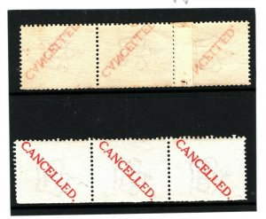 GB SPECIMEN 1911 Machine Trial COIL-JOIN STAMP *CANCELLED* Strips of 3 {2} 1022