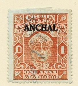 India IFS Cochin state 1939  SG 73 a?  1 anna brown-orange cat £500 +